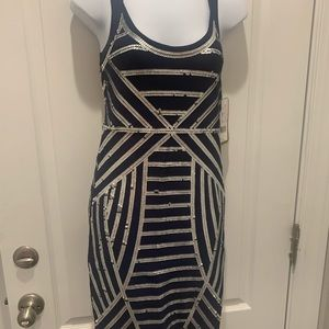 Nicole Miller Navy Blue Sequin Dress Size Small